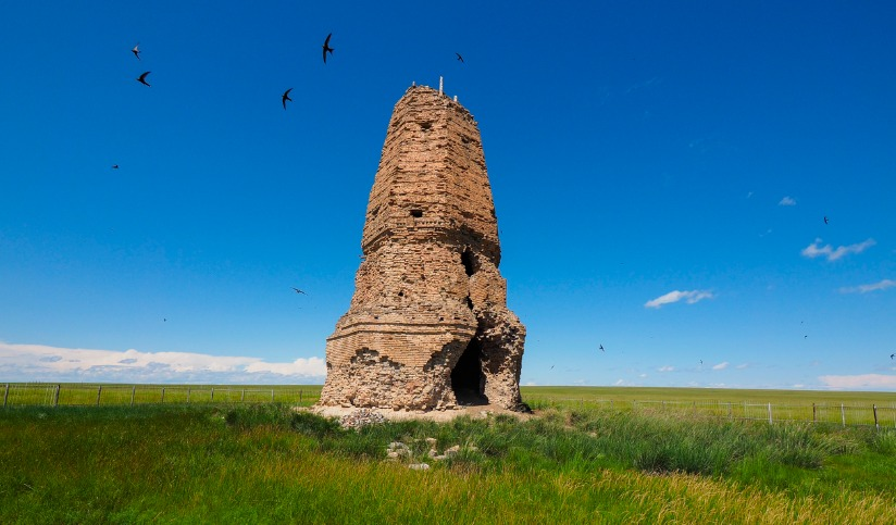 Kherlen Bars Crumbling Tower in Choibalsan
